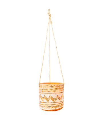 ALL WHITE ENGRAVED HANGING POT D14 H13