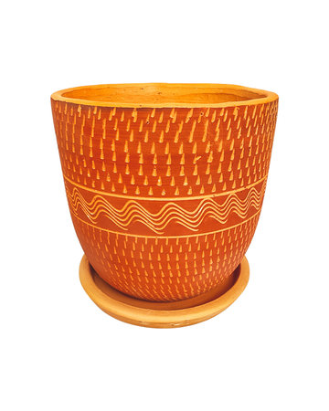 ALL RED ENGRAVED HIGH CURVED POT N3 - D26 H26