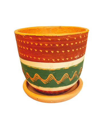 RED & GREEN ENGRAVED HIGH CURVED POT N2 - D22 H20