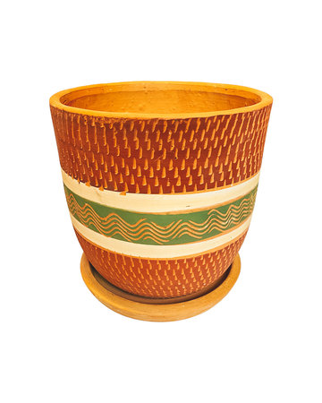 RED & GREEN ENGRAVED HIGH CURVED POT N3 - D26 H26