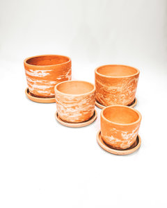 Mixed clay straight pot set X4
