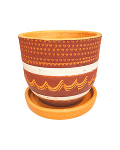 RED & WHITE ENGRAVED HIGH CURVED POT D16 H15