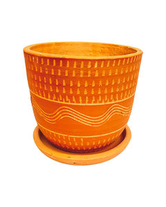 ALL RED ENGRAVED HIGH CURVED POT N2 - D22 H20