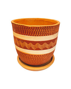 RED & WHITE ENGRAVED HIGH CURVED POT N3 - D26 H26