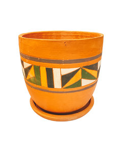 COLOURFUL HAND PAINTED HIGH CURVED POT N3 - D26 H26