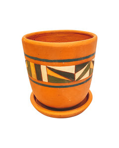 COLOURFUL HAND PAINTED HIGH CURVED POT N2 - D22 H20